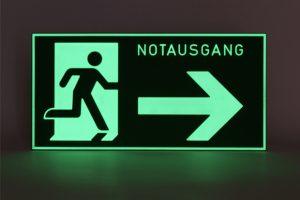 Fluchtweg rechts, nachleuchtend
